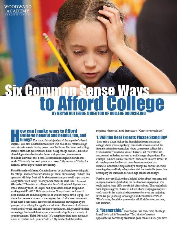 Six Common Sense Ways to Afford College