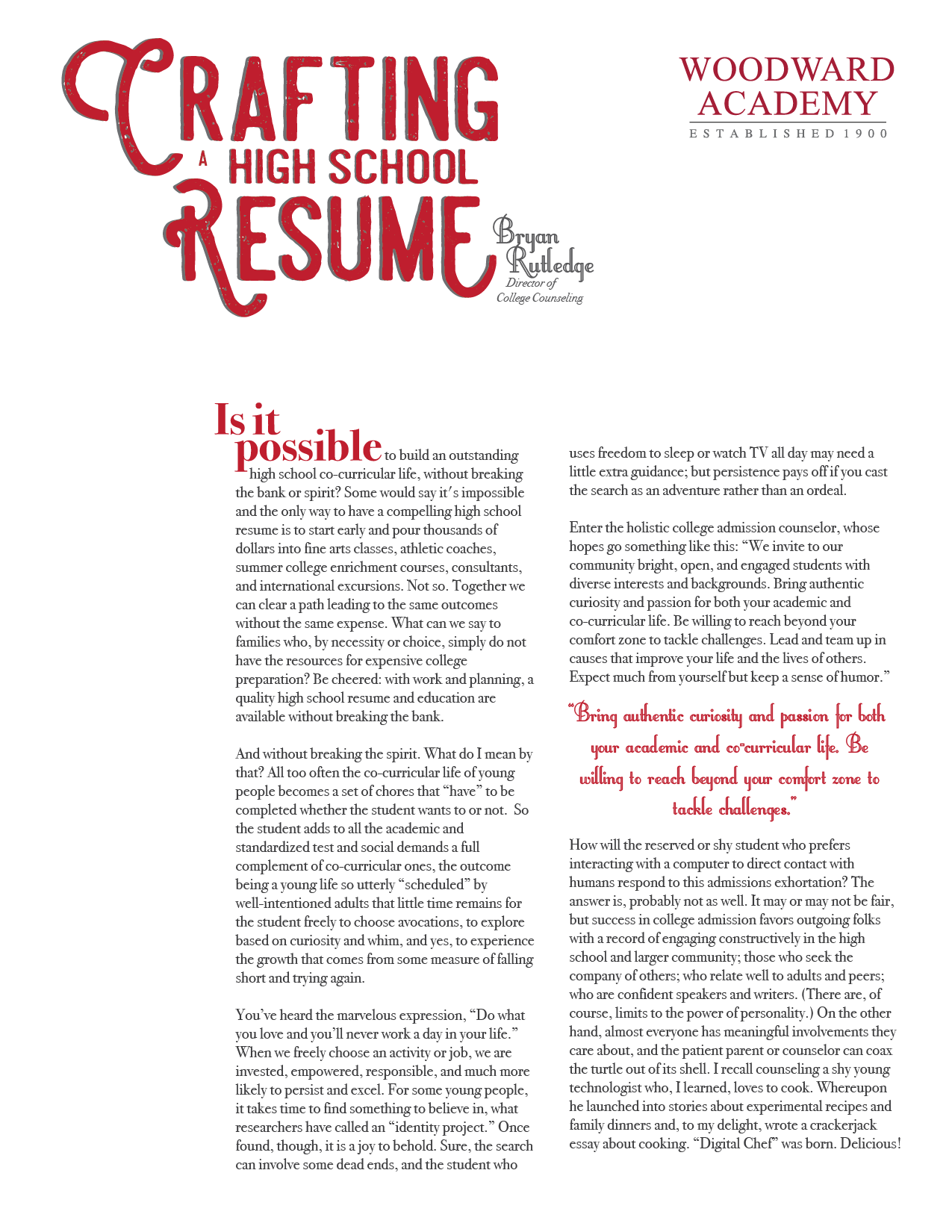 Crafting A High School Resume